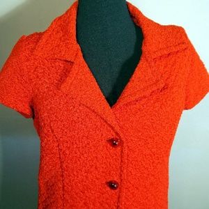 VTG 60s Red Wool Collared Mini Dress Button Down